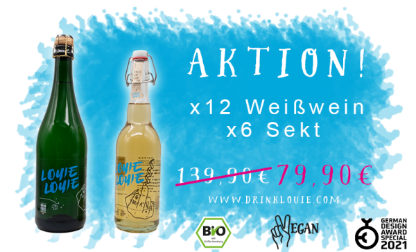 Ticketsprinter Aktion - Louie Louie 12 x Bio Weißweincuvée trocken + 6x Sekt